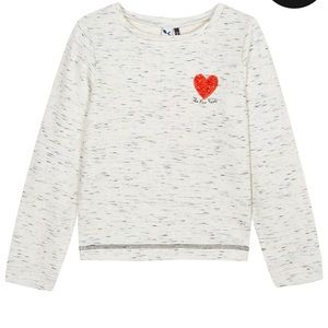3 Pommes Grey Girls Top with Red Heart Size 11/12